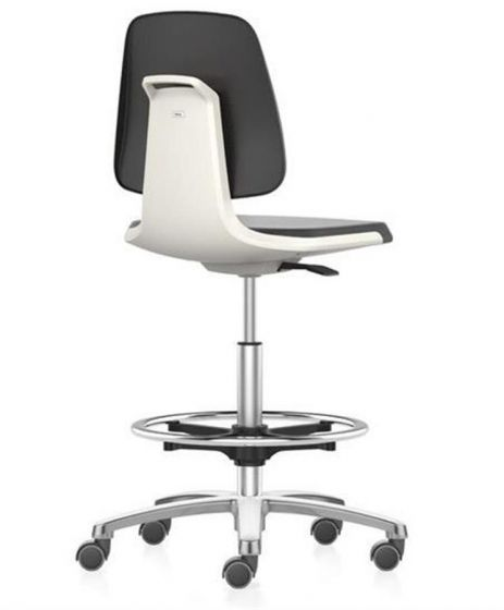 Labsit 4 PU-foam, white seat shell, polished  base, stop/go castors