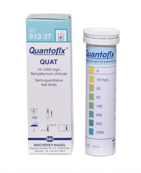 Quantofix quaternary ammonium compounds test kit, pack of 100 tests,