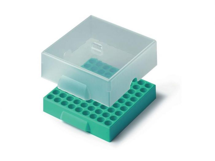 81 Place Polypropylene Maxicold Racks & Lid Green Pack of 5 for use with tubes up to 12mm diameter-RTP/76001-G-Camlab