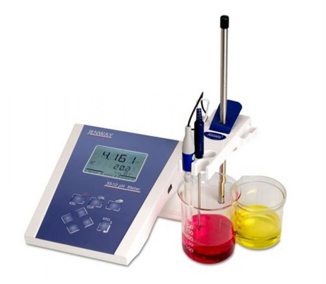 Jenway Model 3510 pH/temp meter with dual display mV range & EpoxyTough DJ Combination Electrode-351.001-Camlab