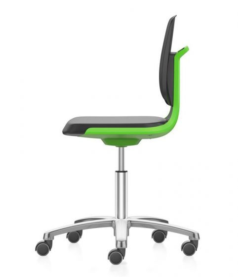 Labsit 2 PU seat and Green seat shell, with aluminium base