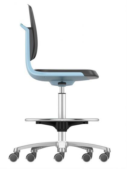 Labsit 4 PU-foam, blue seat shell, polished  base, stop/go castors