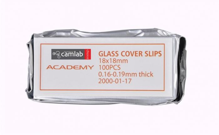 Academy Cover Slips No.1.5 0.16-0.19mm Thick 18 x 18mm Pack of 100