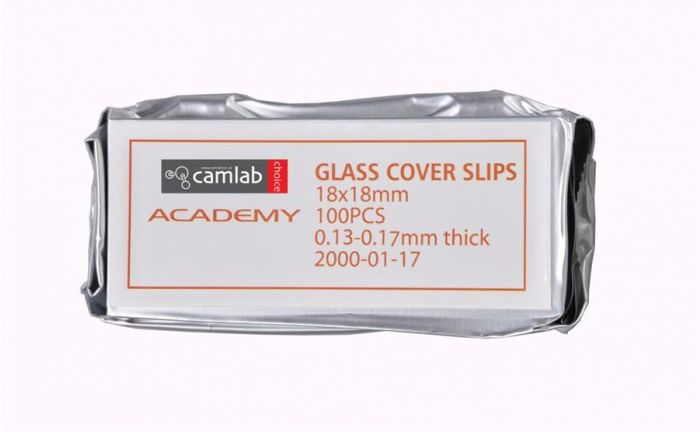 Academy Cover Slips No.1 0.13-0.17mm Thick 18 x 18mm Pack of 100
