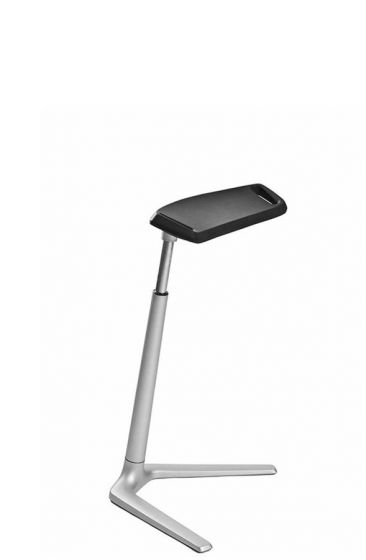 Fin standing chair with black integral foam seat and silver aluminium frame