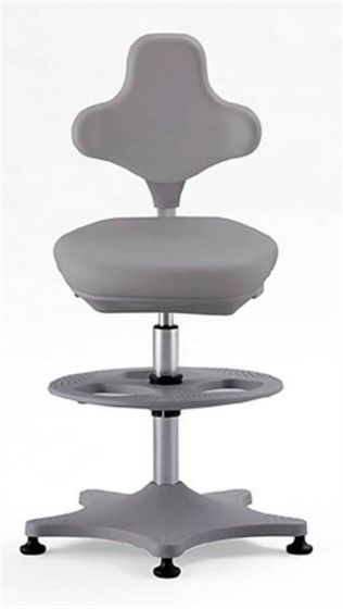 Labster 3 Grey synthetic leather lab chair with glides and foot ring