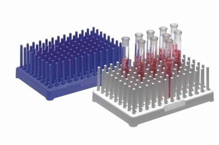 Polypropylene peg style test tube racks