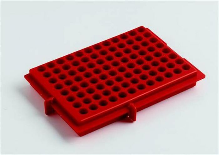 Camlab Plastics X-Y  Polypropylene Rack- Red reversable  For 0.5ml/2ml tubes