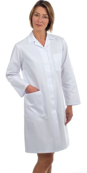 LC10 Ladies White Polycotton Coat - 46""