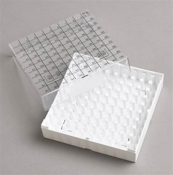 100 Place White Polycarbonate Storage Box with Printed Lid Pack of 5