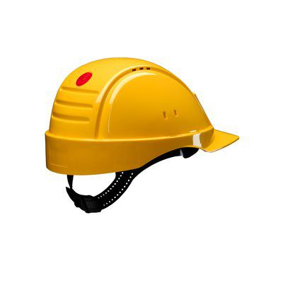 3M™ PELTOR™ Helmet G2000 with Uvicator™ Sensor Std. Susp plastic sweatband Vented yellow Pack of 20