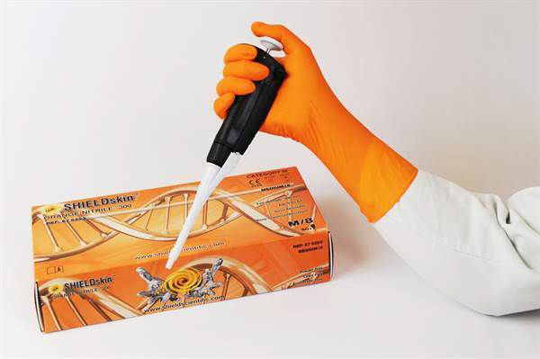 SHIELDskin Orange 300 Nitrile Powder Free Gloves - 10 packs x 50 Gloves