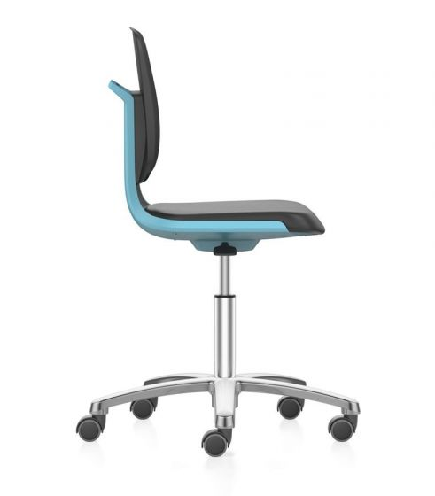 Labsit 2 Artificial leather seat, Blue shell,aluminium base