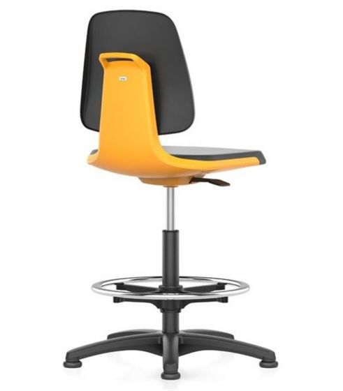 Labsit 3 with PU seat and orange seat shell with polished aluminium glides