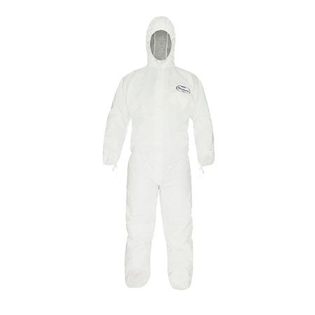 KLEENGUARD A20+ Hooded Breathable Coveralls for Particle Protection - White