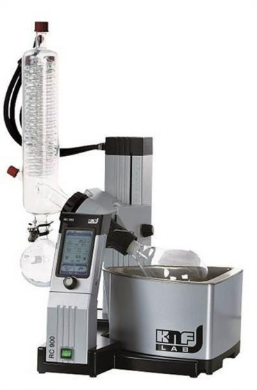 RC900 Rotary Evaporator with wireless remote control and standard plastic coated glassware