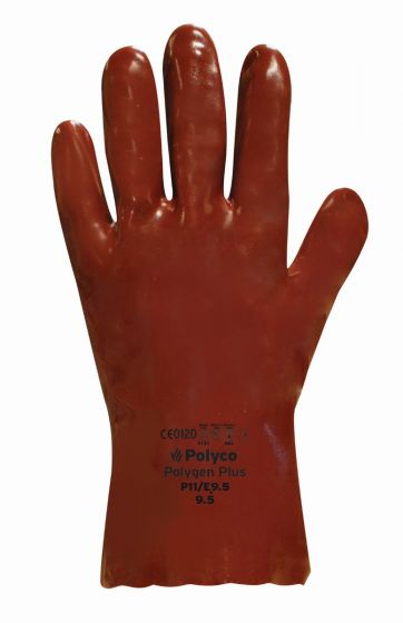 """GT303 14"""" Red Chemical Resistant PVC Gauntlet  9.5 - Pack of 10 Pairs"""