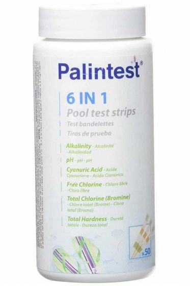 6 in 1 Test Strip Free & Total Chlorine/Bromine, pH, Cyanuric, Hardness and Alkalinity Pack of 50-PT 637-Camlab