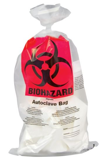 Biohazard PP Autoclavable Waste Disposal Bags - 300 x 500mm - Pack of 100
