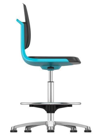 Labsit 3 with PU seat and blue seat shell with polished aluminium glides