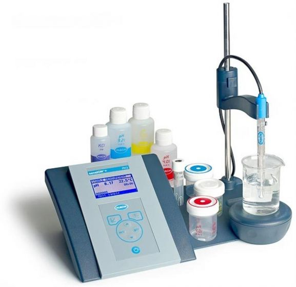 Sension+ pH3 Benchtop  pH Lab kit with 5010T electrode stirrer stand buffer and calibration beakers-LPV2010T.98.002-Camlab