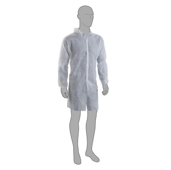 PAL White Nonwoven Visitor Coat - Individually Wrapped - Pack of 100
