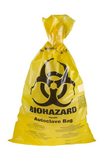 Biohazard Yellow HDPE Autoclavable Waste Disposal Bags with Indicator Patch