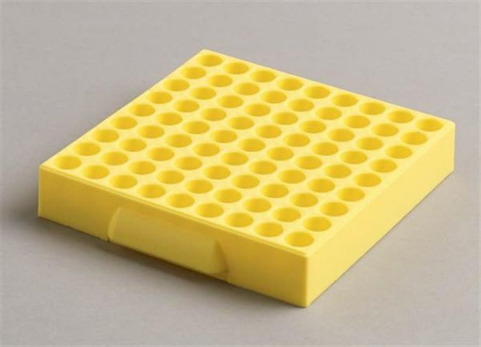 81 Place Polypropylene Maxicold Racks Yellow Pack of 5 (Tubes <12mm diam)