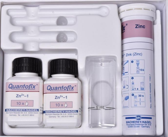 QUANTOFIX Zinc box of 100 test sticks 6 x 95 mm incl. reagents