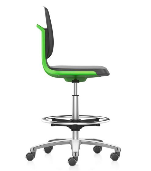Labsit 4 artificial leather, green seat shell,polished base
