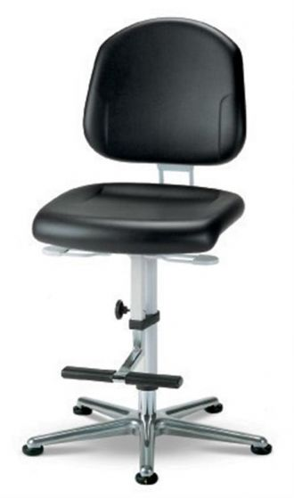 Cleanroom Plus 3 Black synthetic leather chair with glides and footrest