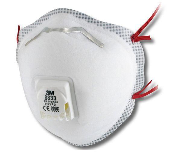 3M 8833 FFP3 Soft Seal Valved Dust/Mist Respirators