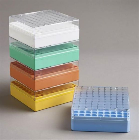 81 Place Polycarbonate Mixed Storage Box, fixed rack for 0.5-2ml Pack of 5