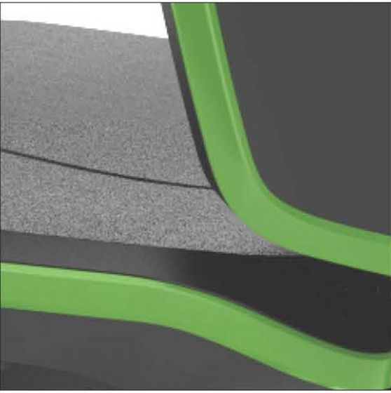 Neon 1 Lab chair no seat pads Flexband Mars Green auto seat back-glides